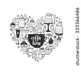 hand drawn coffee time...   Shutterstock .eps vector #335366486
