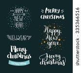 set of hand drawn merry...   Shutterstock .eps vector #335366516