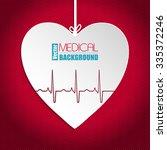 hanging ekg heart on striped... | Shutterstock .eps vector #335372246