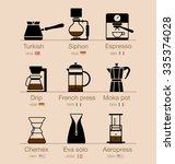 set of coffee icons. vector... | Shutterstock .eps vector #335374028