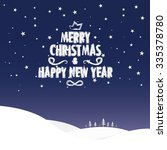 christmas greeting card. merry... | Shutterstock .eps vector #335378780