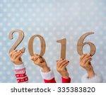 Happy New Year. Children Hands...