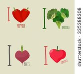 i love vegetables  broccoli and ... | Shutterstock .eps vector #335388308