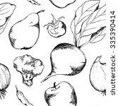 vegetable fruit black and white ... | Shutterstock . vector #335390414