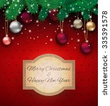 christmas card with colorful... | Shutterstock . vector #335391578