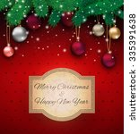 christmas card with colorful... | Shutterstock . vector #335391638