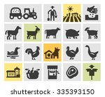 farm icons set. vector... | Shutterstock .eps vector #335393150