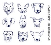 set of hand drawn dog's heads.... | Shutterstock .eps vector #335398934