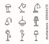light fixture linear icon set.... | Shutterstock .eps vector #335424170