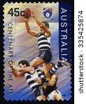 Small photo of AUSTRALIA - CIRCA 1996: A stamp printed in Australia shows the Geelong Cats, Centenary of the AFL series, circa 1996