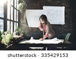 architecture woman working blue ... | Shutterstock . vector #335429153