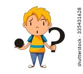 confused kid  riddle  concept ... | Shutterstock .eps vector #335431628