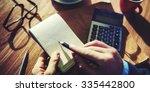 hands of businessman working... | Shutterstock . vector #335442800