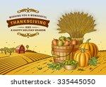 vintage thanksgiving landscape. ... | Shutterstock .eps vector #335445050