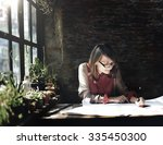 architecture woman working blue ... | Shutterstock . vector #335450300