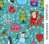 christmas cute seamless pattern. | Shutterstock .eps vector #335474723
