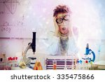 a boy doing experiments in the... | Shutterstock . vector #335475866