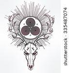 beautiful scull tattoo art....   Shutterstock .eps vector #335487074