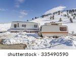 caravans trailers on the snow ... | Shutterstock . vector #335490590