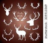 rustic antlers set  ... | Shutterstock .eps vector #335513369