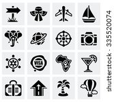 vector travel icon set on grey... | Shutterstock .eps vector #335520074