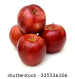 ripe red apple fruits isolated... | Shutterstock . vector #335536106