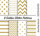 set of beautiful golden glitter ... | Shutterstock .eps vector #335543450