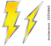 Vector illustration of a couple of lightning bolts, yellow with metallic border - stock vector