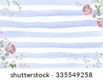 watercolor floral frame with... | Shutterstock . vector #335549258