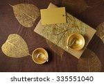 glittering golden gift box with ... | Shutterstock . vector #335551040