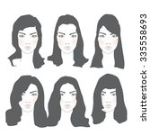 set of female hairstyles for... | Shutterstock .eps vector #335558693