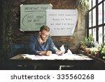 man working determine workspace ... | Shutterstock . vector #335560268