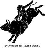 rodeo bull ride | Shutterstock .eps vector #335560553
