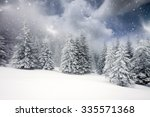 christmas background with snowy ... | Shutterstock . vector #335571368