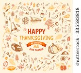 thanksgiving doodles set with... | Shutterstock .eps vector #335583818