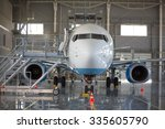 Small photo of the aircraft in the hangar