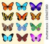 set of butterflies | Shutterstock .eps vector #335607380