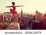 ballet dancer in front of new... | Shutterstock . vector #335613479
