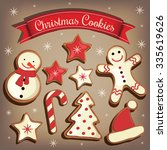 collection of cartoon christmas ... | Shutterstock .eps vector #335619626