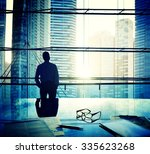 cityscape businessman thinking... | Shutterstock . vector #335623268