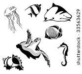 set of 7 marine animals in... | Shutterstock .eps vector #33563629