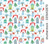 christmas seamless pattern with ... | Shutterstock .eps vector #335642870