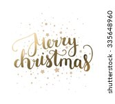 merry christmas card with hand... | Shutterstock .eps vector #335648960