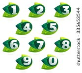 Numbers Set With Green Leaves...