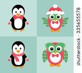 penguin and owl set   Shutterstock .eps vector #335655578
