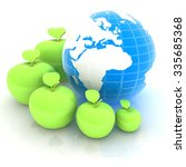 earth and apples around   from...   Shutterstock . vector #335685368