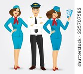 portrait of a pilot and two... | Shutterstock .eps vector #335707583