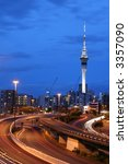Auckland City At Dusk, New Zealand - stock photo