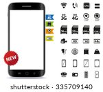 smart phone and icons set... | Shutterstock .eps vector #335709140