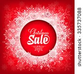 christmas sale text in circle... | Shutterstock .eps vector #335737088